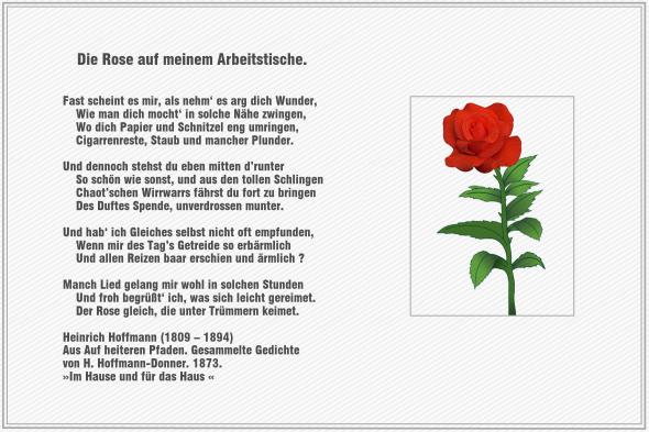 Die Rose auf meinem Arbeitstische – Heinrich Hoffmann