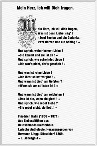 Mein Herz, ich will Dich fragen – Friedrich Halm