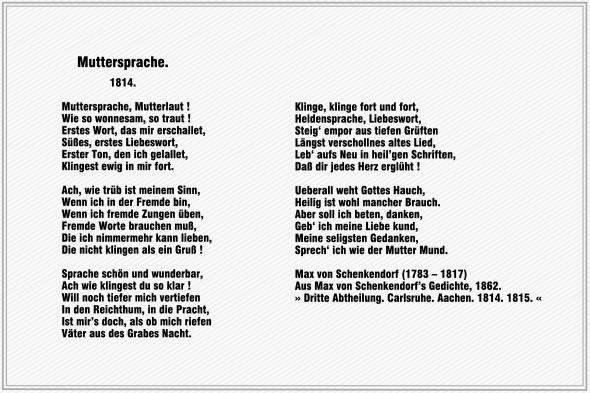 Muttersprache – Max von Schenkendorf