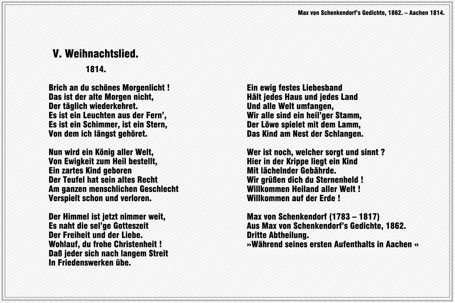 Weihnachtslied – Max von Schenkendorf « Blumen – Gedichte – Maerchen