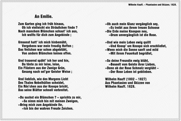 An Emilie – Wilhelm Hauff