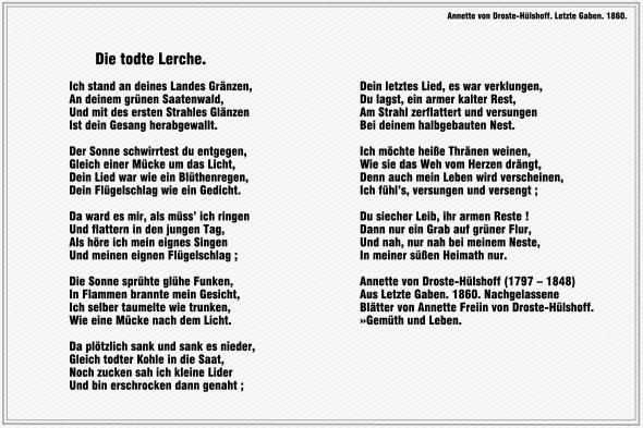 Die todte Lerche – Annette von Droste-Huelshoff