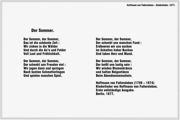 Der Sommer – Hoffmann von Fallersleben