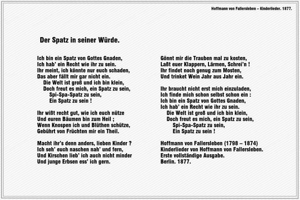 Der Spatz in seiner Wuerde – Hoffmann von Fallersleben