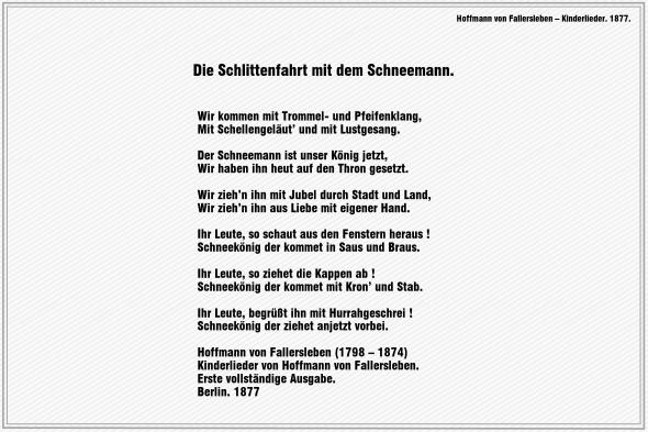 Die Schlittenfahrt mit dem Schneemann – Hoffmann von Fallersleben