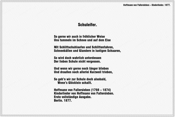 Schuleifer – Hoffmann von Fallersleben