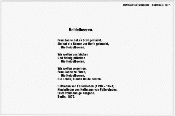 Heidelbeeren – Hoffmann von Fallersleben